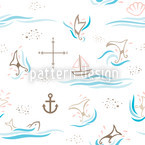 Whale Watching Seamless Vector Pattern Design