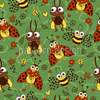 Lustige Insekten Nahtloses Vektormuster