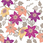 Clematis Dreamgarden In White Seamless Vector Pattern Design