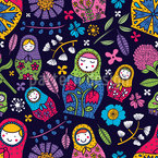 Russian Floral Babushkas Repeating Pattern