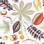 Mitbringsel Vom Herbstspaziergang Nahtloses Muster