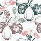 Vintage Quince Tree Seamless Vector Pattern Design