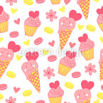 Ice Cream Face Seamless Vector Pattern Design