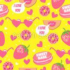 Liebe Zu Süßigkeiten Nahtloses Muster