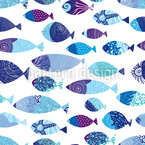 Auswahl von Fischen Nahtloses Vektormuster