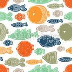 Glückliche Fische in allen Formen Nahtloses Vektormuster