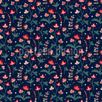 Floral Summer Night Seamless Vector Pattern Design