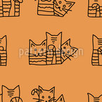 Curious Cats Seamless Vector Pattern Design