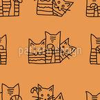 Neugierige Katzen Nahtloses Vektormuster