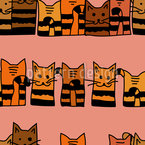 Cuddling Cats Seamless Vector Pattern Design