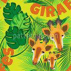 Giraffen-Familie Nahtloses Vektormuster