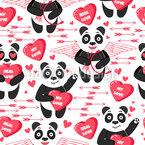 Pandas In Love Seamless Vector Pattern Design