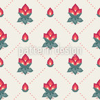 Red rose buds in diamond shape Pattern Design