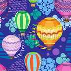 Bright flying hot air baloons Seamless Pattern