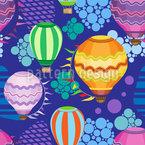 Helle fliegende Heißluftballone Nahtloses Muster