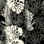 Monstera And Palm Leaf Border Repeating Pattern