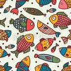 Fisch Und Polka Dot Nahtloses Vektormuster