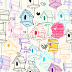 Bird Houses  Seamless Vector Pattern Design