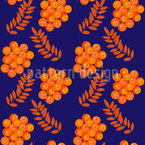 Fruits Of Mountain Ash Seamless Vector Pattern Design