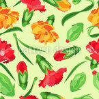 Blooming Carnations Seamless Vector Pattern Design