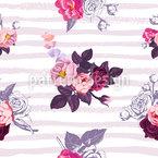 Kleine halb-farbige Rosensträuße Nahtloses Vektormuster