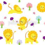Löwenbaby Nahtloses Vektormuster
