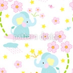 Happy Elephant Seamless Pattern