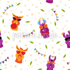Funky Lamas Seamless Vector Pattern Design