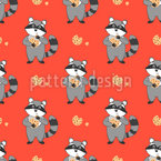 Raccoon And Cookies Seamless Pattern
