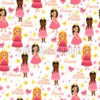 Kleine Prinzessinnen Nahtloses Vektor Muster