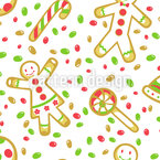 Christmas Holiday Sweets Seamless Vector Pattern Design