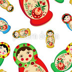 Khokhloma Nested Dolls Seamless Pattern