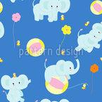 Baby-Elefanten und Bälle Vektor Ornament