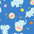 Baby Elephants and Balls Vector Ornament