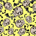 Bats and Skulls of Vampires Seamless Vector Pattern Design
