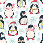 Penguins on Ice Seamless Vector Pattern Design