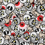 Skulls and Eyeballs Repeat Pattern