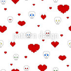 Hearts And Skulls Seamless Vector Pattern Design