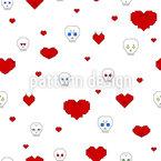 Corações e Crânios Design de padrão vetorial sem costura