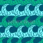 小枝と波 シームレスなベクトルパターン設計