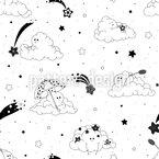 Bewölkter Sternenhimmel Nahtloses Vektormuster