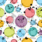 Sleepy Sheeps Seamless Vector Pattern Design