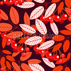Botanical Mountain Ash Seamless Pattern