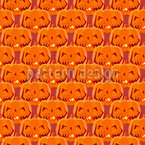 Creepy Halloween Pumpkins Seamless Vector Pattern Design
