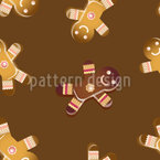 Gingerbread men cookies Seamless Vector Pattern Design