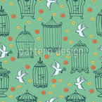 Birds and Cages Seamless Vector Pattern Design