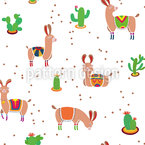Llama With Cacti Vector Pattern