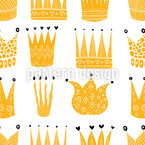 Gold Crown Seamless Vector Pattern Design