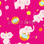 Playful Baby Elephants Vector Ornament
