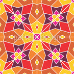 Mirrored Flower Shape Seamless Vector Pattern Design